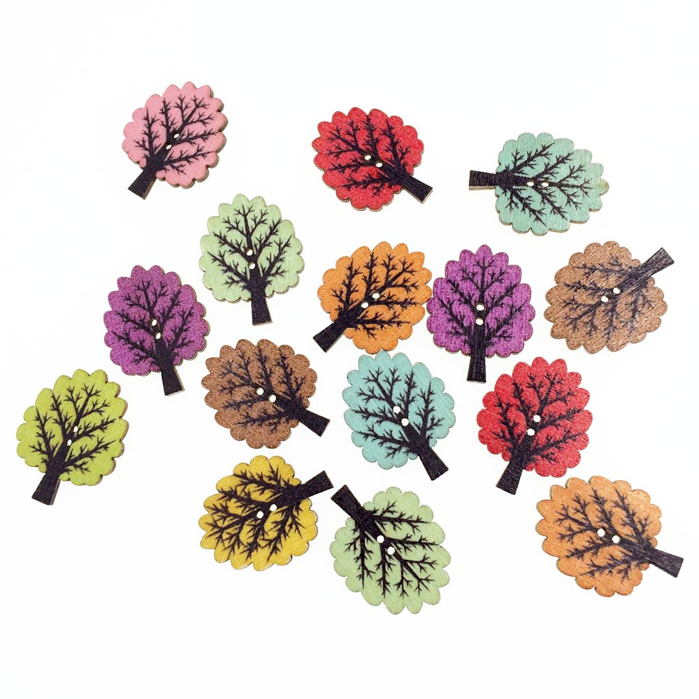 50piece tree leaf diy wooden buttons for clothing for Decorative buttons for crafts