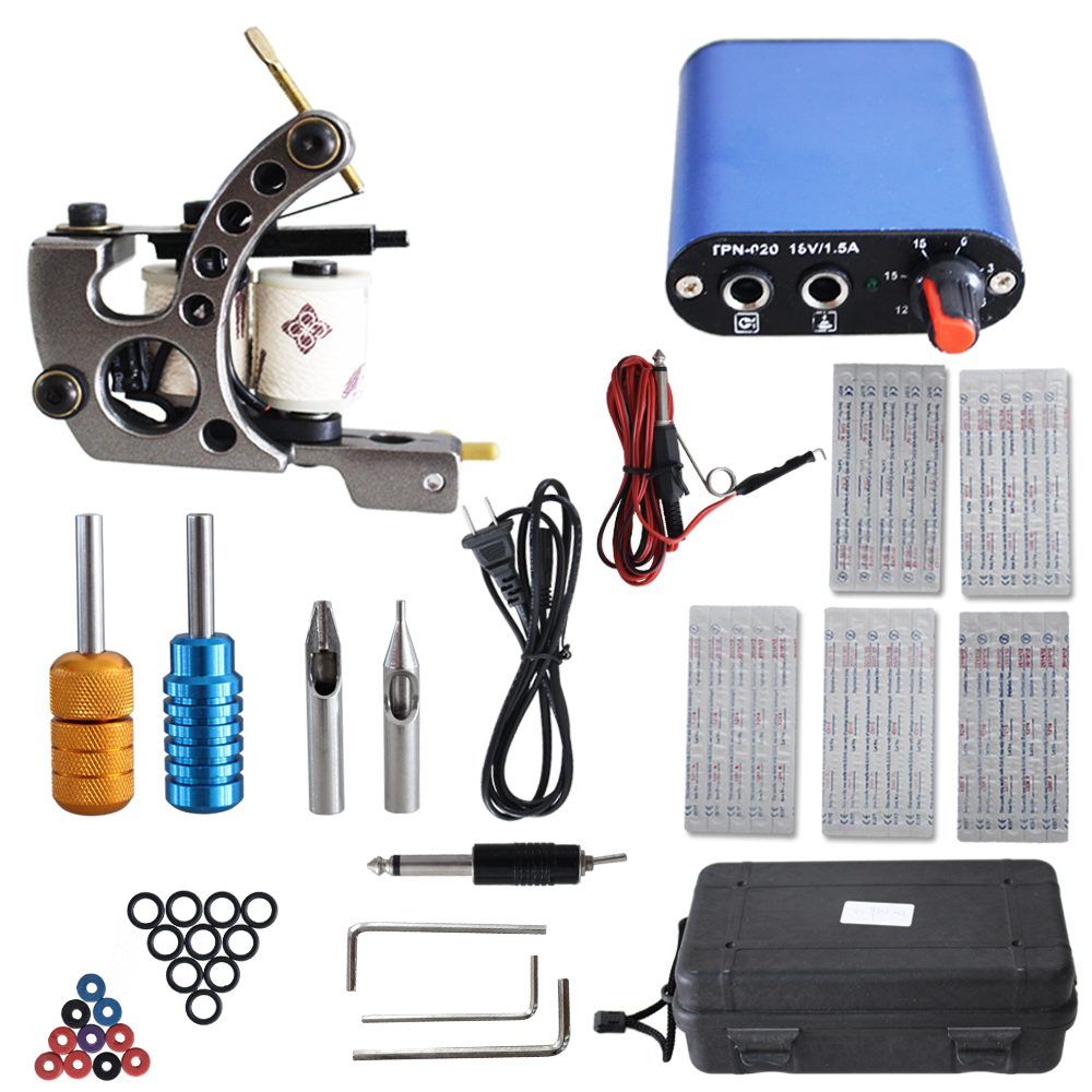 YILONG Complete Tattoo kits 1 coil tattoo machine sets power supply disposable needle free shipping yilong yilong lcd dual tattoo machine gun power supply