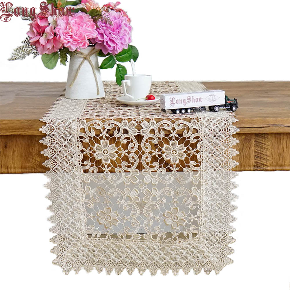 LongShow Luxury Pure Chemical Embroidered Lace Trim Banquet Decoration Hollow-Out Design Table Runner