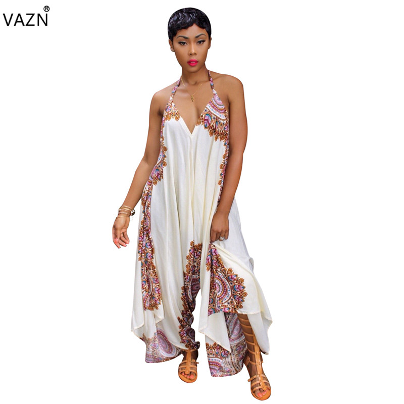 VAZN 2018 fashion new print loose sexy halter jumpsuits women sleeveless deep v-neck jumpsuits ladies backless jumpsuits LS6127