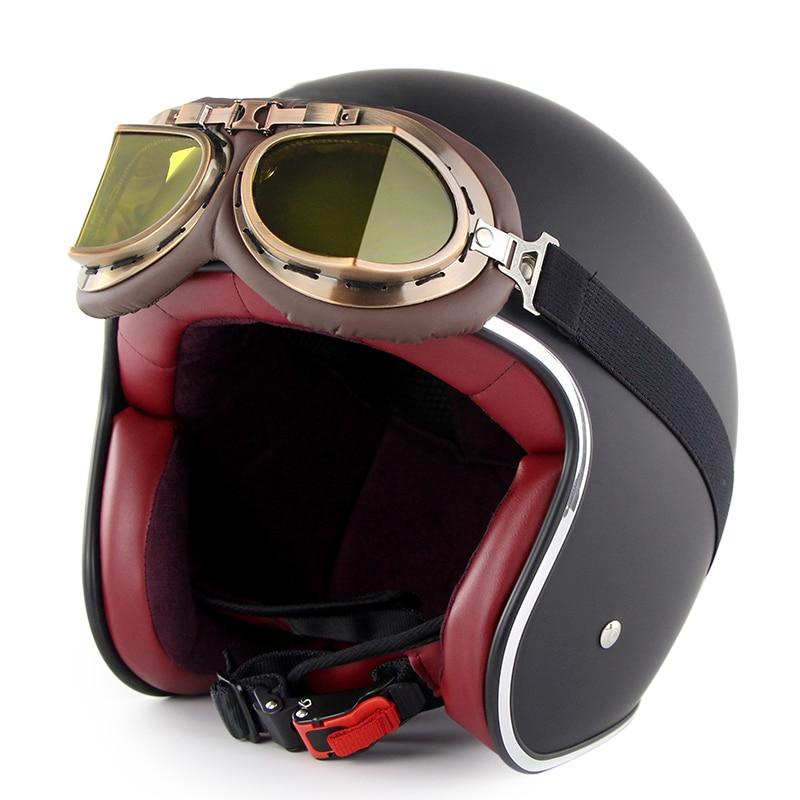 Demi-casque de moto en cuir rétro casque de moto Vintage avec lunettes NR-livraison