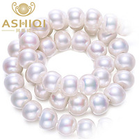 ASHIQI Natural Freshwater Pearl Necklace 100% Real White 925 Sterling Silver for women wedding