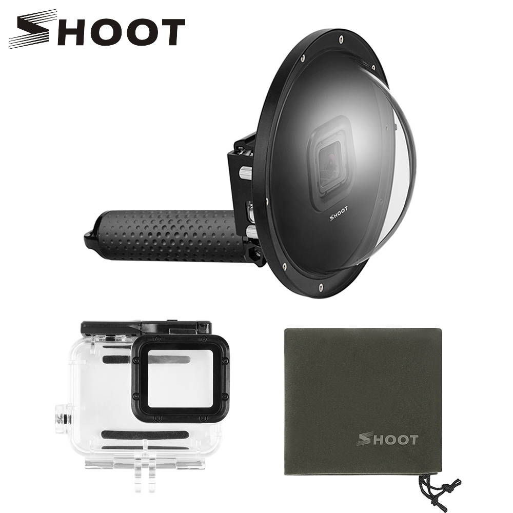 Стрелять 6 дюймов 30 м подводный купольный чехол для дайвинга для GoPro 7 6 5 черный экшен-камера с поплавком Водонепроницаемый случае Go Pro аксесс...