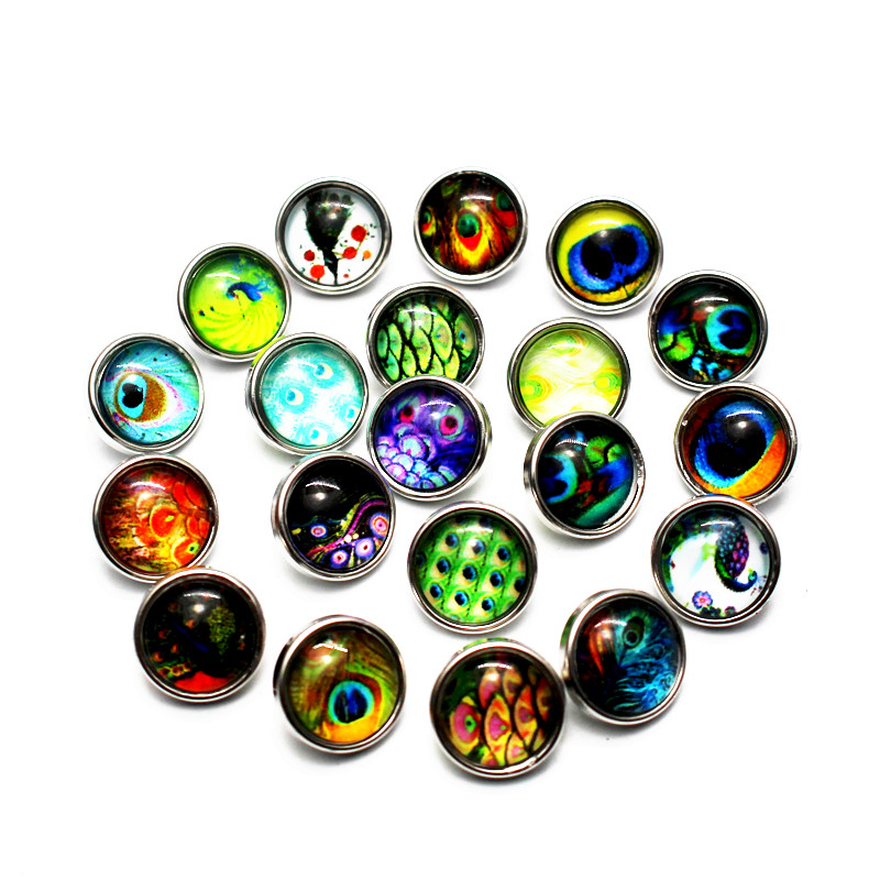 Hot selling mix 12pcs/lot 12mm peacock feathers Glass Snap Buttons Charms Fit Snap Bracelet/ Necklace DIY Jewelry image