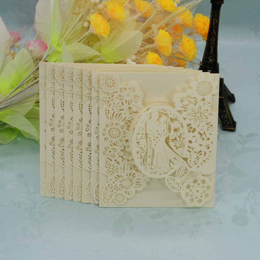 20pcs Romantic Laser Cut Wedding Invitation Card Groom Bride Carved Pattern 3 Color Favor Gift Wedding Decoration Party Supplies