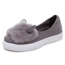 slip ons shoes women platform flats 2016 New Designer Fashion Real Fur Shoes ears Loafers Female Low Cut Casuals leisures lady