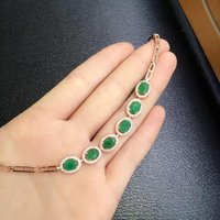 2017 Real Qi Xuan_Fashion Jewelry_Colombia Green Stone Fashion Bracelets_Rose Gold Color Green Bracelet_factory Directly Sales