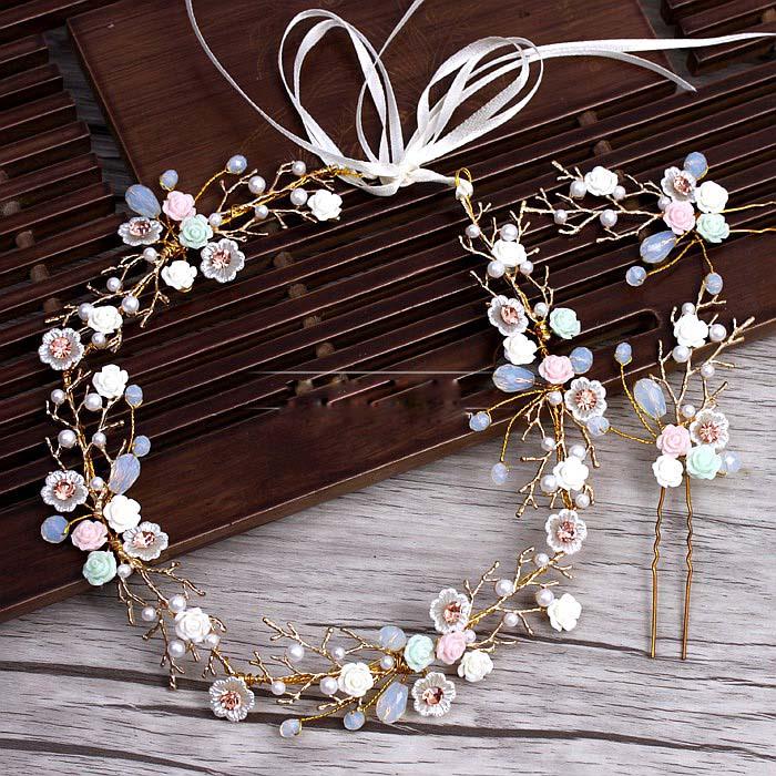 Goldene Zweige Keramik Blume Stirnband Haarnadeln Anzug Hochzeit Tiara Haarschmuck für Bräute Hochzeit Haarschmuck