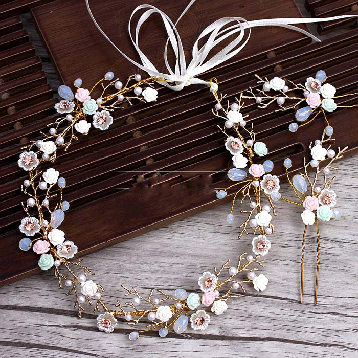 Cabang emas Keramik Flower Headband jepit rambut Jas pernikahan tiara rambut dekorasi untuk pengantin Pernikahan Aksesoris rambut