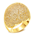 New Arrival Deluxe Real Gold Plated White Cubic Zirconia Crystal Rings Women Fashion Jewelry Big Ball CZ Ring Hot Sale (hybk)