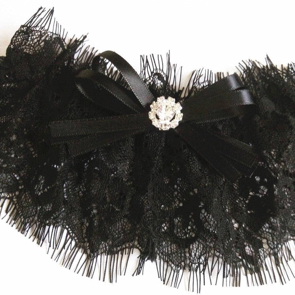 Черные тянущиеся кружевные свадебные чулки с подвязками, вечерние Подвязки для девичника, свадебные подвязки, пояс, стразы, галстук-бабочка