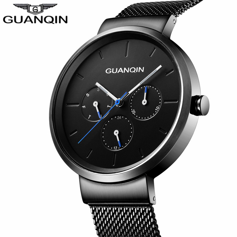2018 GuanQin Fashion Casual Watches Luxury Top Brand Quartz Watch Men Week Date Luminous Watch Men Waterproof Relogio Masculino 2018 men watch brand guanqin quartz watches week date waterproof sport casual clock leather strap wristwatches relogio masculino