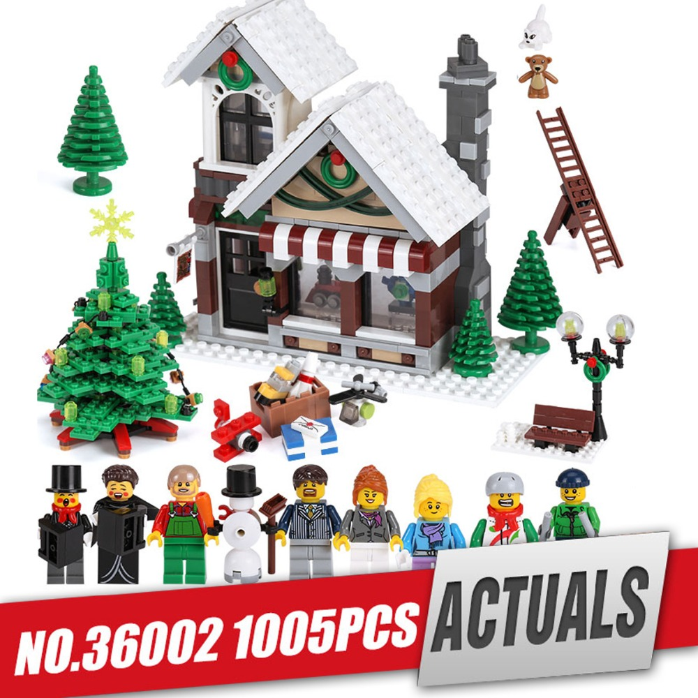 Lepin 36002 Creative Series The Winter Toy Shop Set legoing 10249 Building Blocks Educational Toys As Christmas Gift for kids the new jjrc1001 lepin city construction series building blocks diy christmas gift for kid legoe city winter christmas hut toy