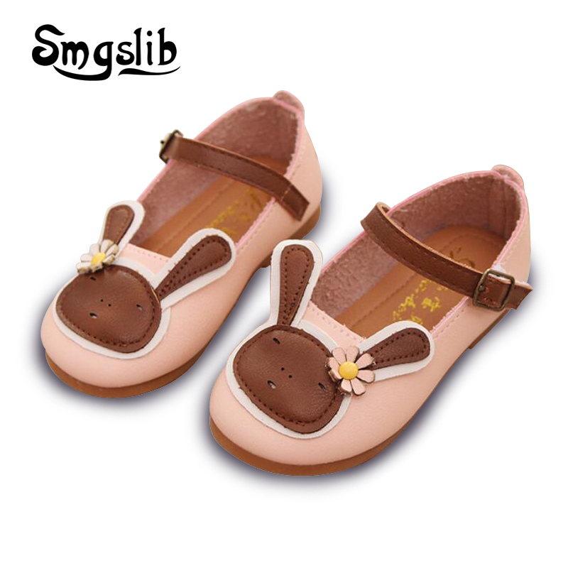 Girls shoes kids 2018 Toddler child dance pink wedding shoes spring summer sweet Princess dress cute Cartoon Rabbit leather shoe