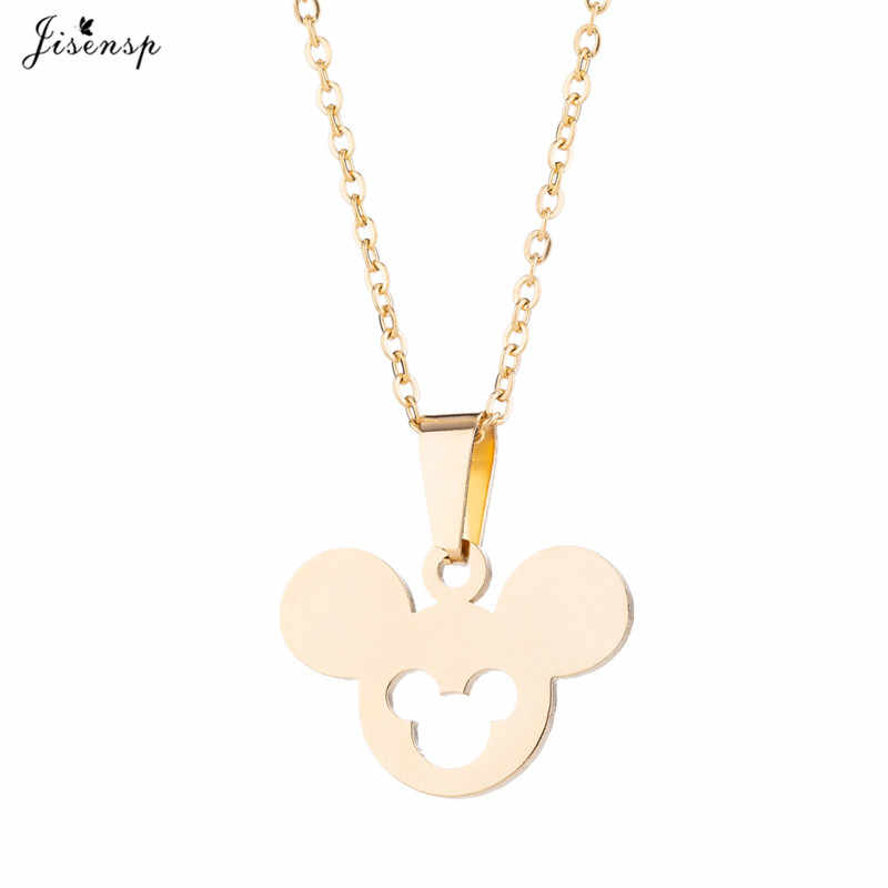 Jisensp יפה אופנה מיקי נירוסטה תכשיטי סטי קריקטורה עכבר שרשרת עגילי בעלי החיים תכשיטי לנשים ילדים מתנה