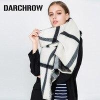 DARCHROW Lange Frauen Schal Mode Neue Plaid Doppelseitige Faux Cashmere Damen Schal Übergroßen Schals Wrap Weiblichen Decke Schals