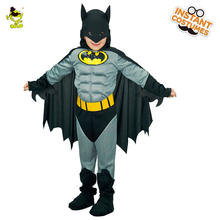 Boys Muscle Batman Costumes with Cape Kids Movie Character, Superhero Role Play Outfit Halloween Carnival