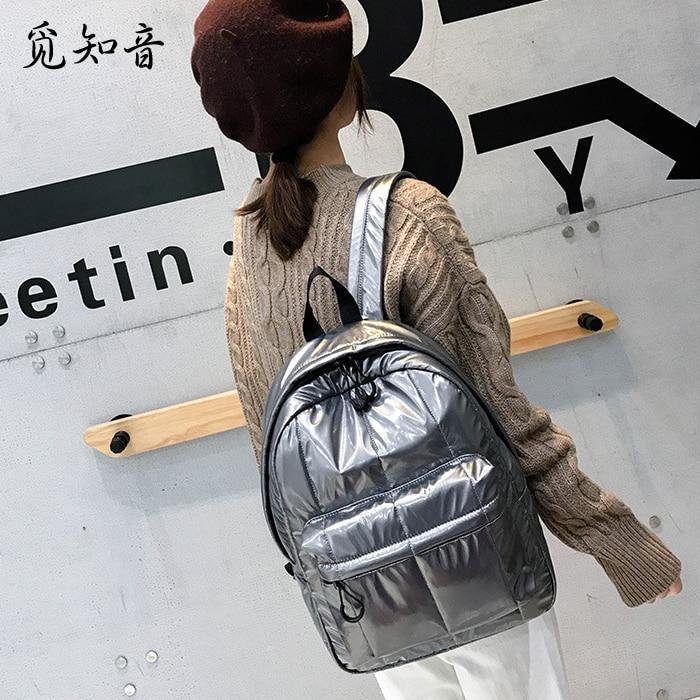 Glossy Backpack Rucksack School-Bag Nylon Female Waterproof Casual Women Students Fashion