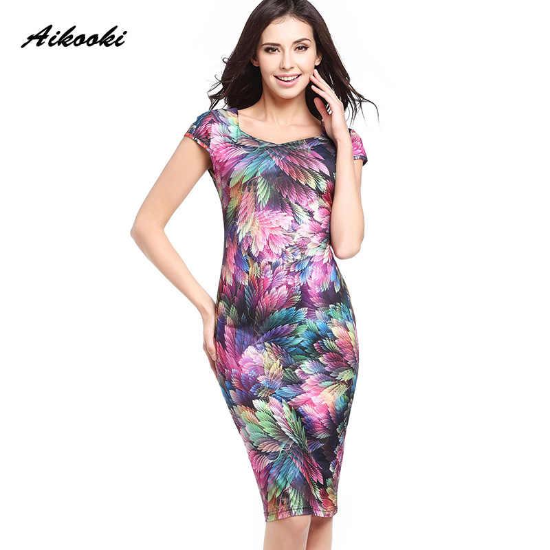 9d1ffee595e7b Aikooki Summer Women Dress 2018 Sexy Elegant Business Casual Floral  Sleeveless Slim Work Dress Party Pencil Sheath Vestidos 2XL