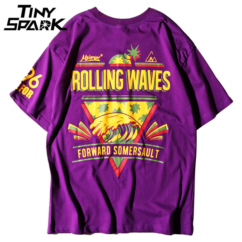 Purple   T     Shirt   Hip Hop Rolling Wave Pineapple Print Tshirt Men 100 Cotton   T  -  Shirt   Harajuku 2018 Summer Urban Clothing Tops Tees
