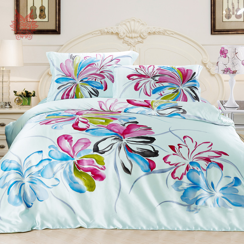 american style floral print 16mm 100 silk bedding set housse de couette duvet cover set bed. Black Bedroom Furniture Sets. Home Design Ideas