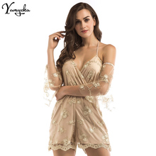 Summer Sexy Strapless Women Jumpsuit Romper Short Playsuits Lace Up Backless Beach Night club Party Bodysuit Overalls 2019 New sexy black satin mesh perspective summer bodysuit women lace up metal chain bandage jumpsuit beach party night club overalls new
