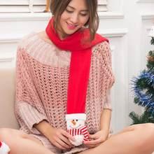f788754320f8 Chaud Santa Bonhomme De Neige Renne Femmes Écharpe D hiver De Noël Echarpes  Nouveauté Costume