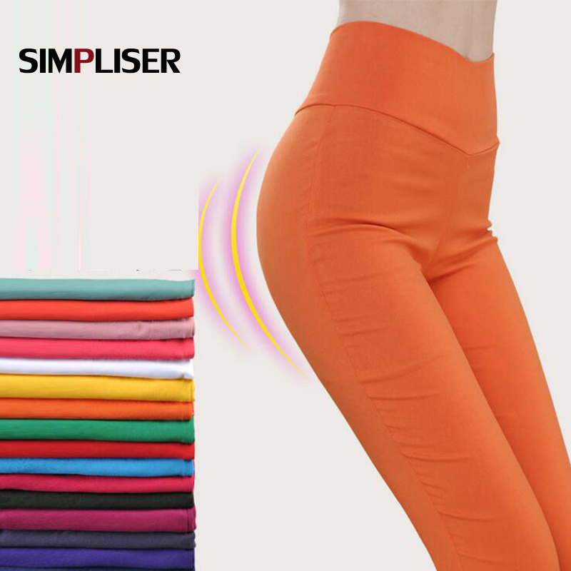 Women Stretch Leggings Plus Size High Waist Female Skinny Pencil Pants Candy Color 2019 Summer Leggings Ladies Trousers White