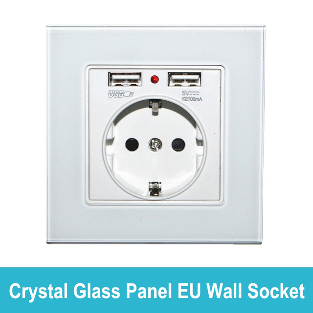 US $12 4 15% OFF EU Standard Wall Socket with USB Ports Crystal Glass Panel  High Quality Power Socket AC110 265V for Germany Poland Russia Israel-in
