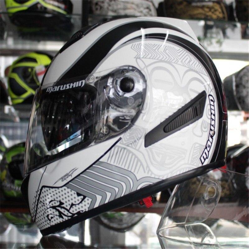 Les importations allemandes Véritable moto casque casque intégral marushin779RS double lentille neutre blanc foudre Voiture Moto casque