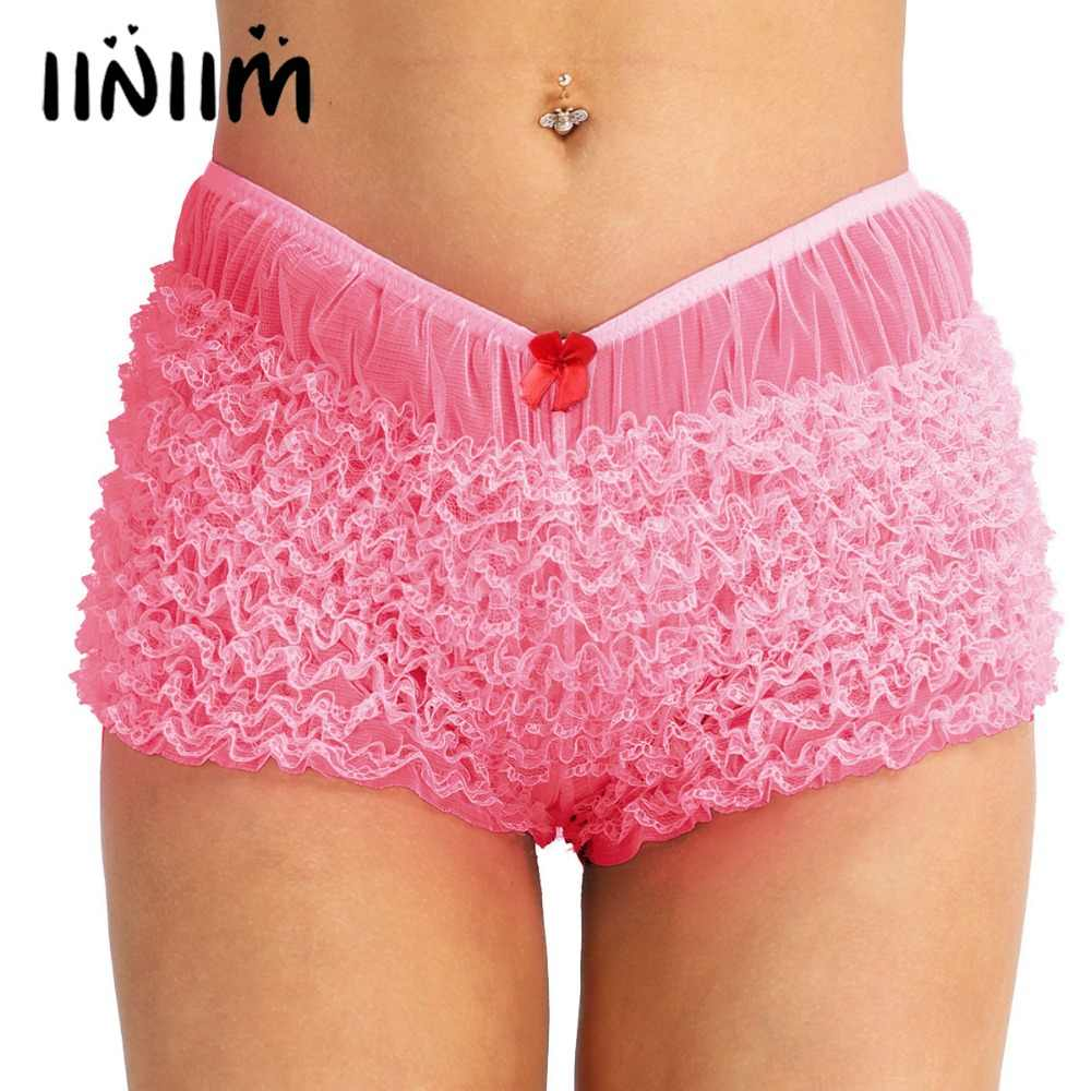 abd75a8e4539c iiniim High Quality Women Ladies Lingerie Ruffled Lace Bloomers Knickers  with a bow Sexy Panties Women s