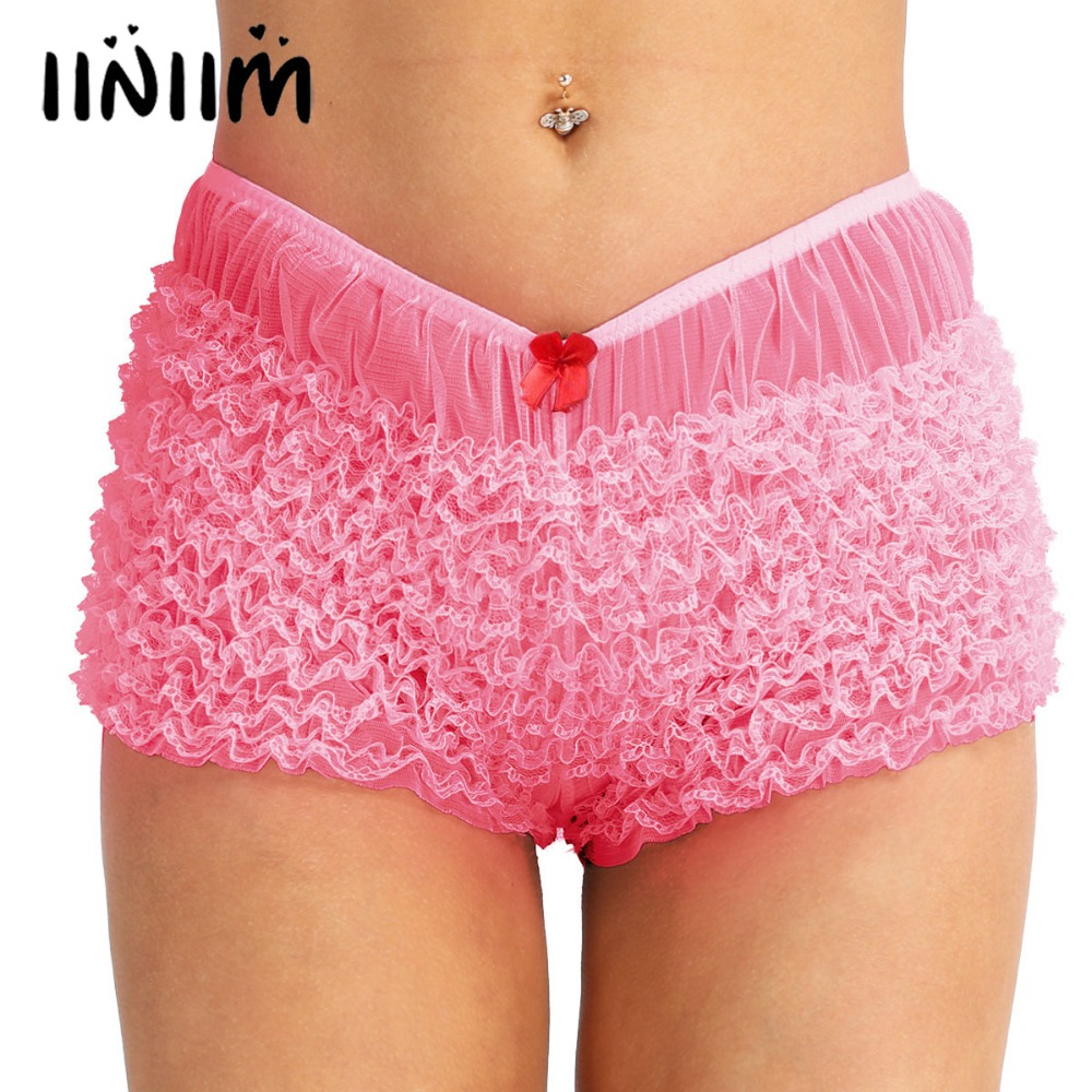 iiniim High Quality Women Ladies Lingerie Ruffled Lace Bloomers Knickers with a bow Sexy   Panties   Women's Underwear Underpants