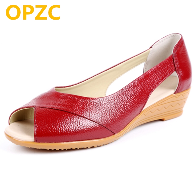 OPZC women's sandals for the summer of 2018 new 100% natural genuine leather sandals female open toe Oxford big size Roman flat aiyuqi big size women shoe 41 42 43 2018 new women s sandals genuine leather casual comfort wedges open toe roman sandals female