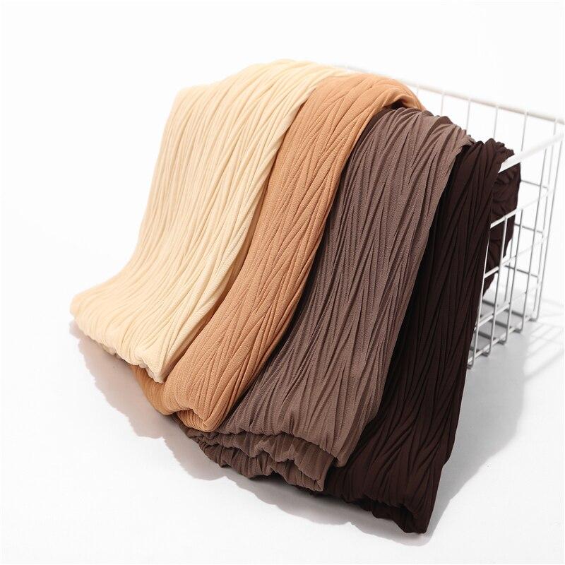 New Women Wrinkle Bubble Chiffon Hijab Scarf Shawls Pleated Leafs Crinkle Muslim Turban Wraps Shawls Long Wrap Scarves 10pcs/lot
