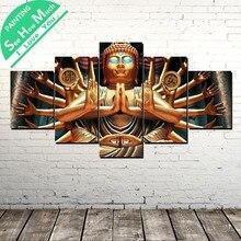 5 Шт. Тысячи рук Будды Wall Art Холст Плакат и Печать Холст Картины Декор Картина Холст Картины Home