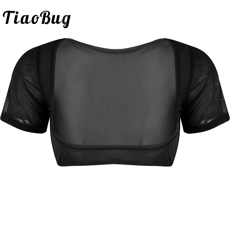 TiaoBug Fashion Women Soft Mesh See Through Sheer Crop   Top   Short Sleeve Open Bust Sexy Female Transparent Club Party   Tank     Top