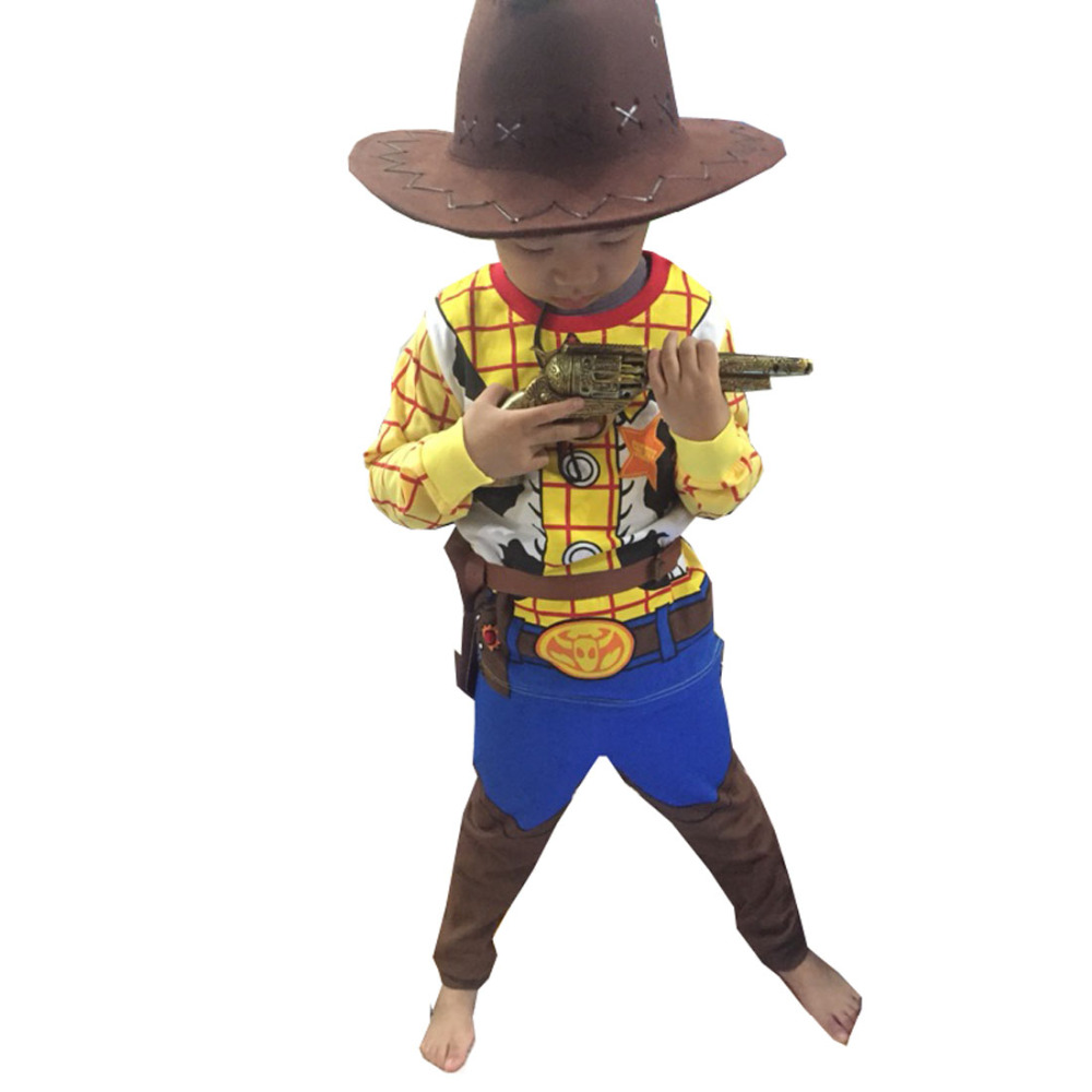 2017 Halloween Toy Story Children Woody Costume Boy Woody Role Play Cowboy Costume Fancy Dress Cosplay Cloths With Hat