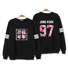 Весна осень kpop bts bangtan мальчики новый альбом охватывает же цветочные письма печати о шеи футболка плюс размер белый черный балахон(China (Mainland))