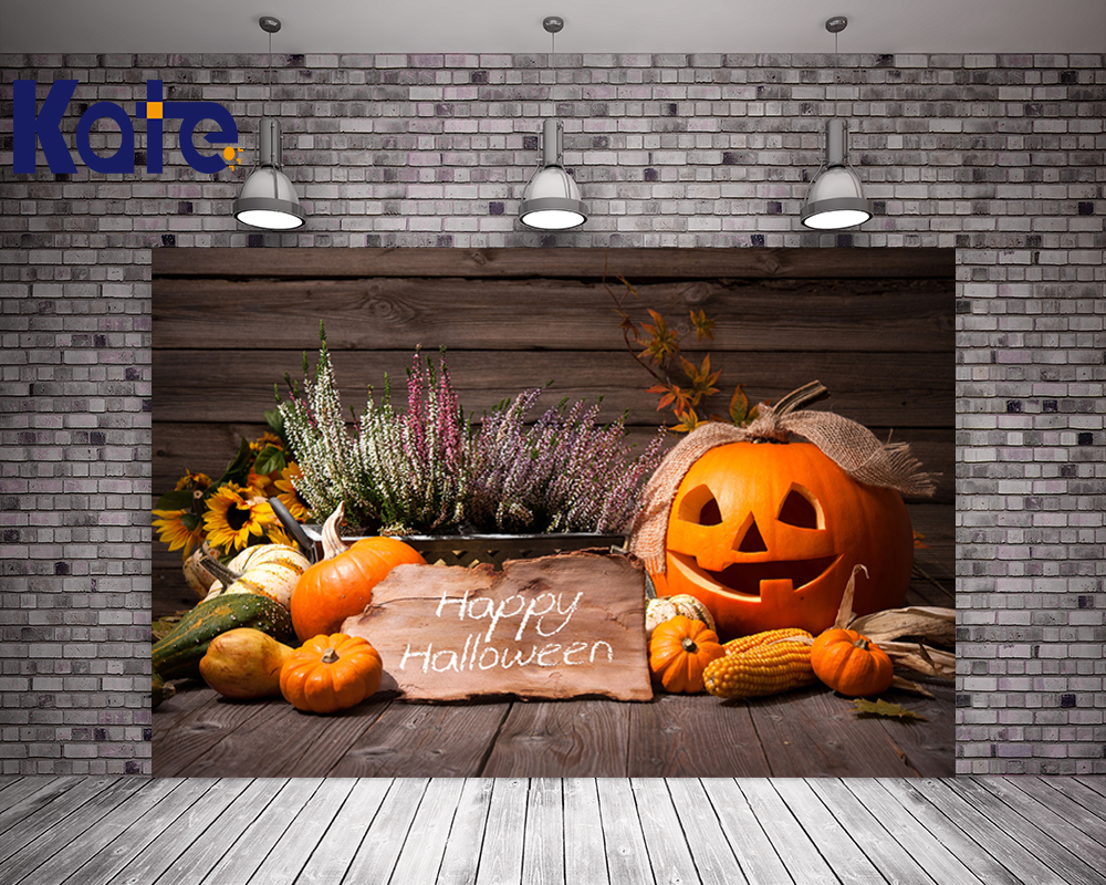 Kate Happy Halloween Photo Background Photography Backdrop Wooden Toile De Fond Studio Photo Pumpkin Lavender Foto Background kate photo background scenery