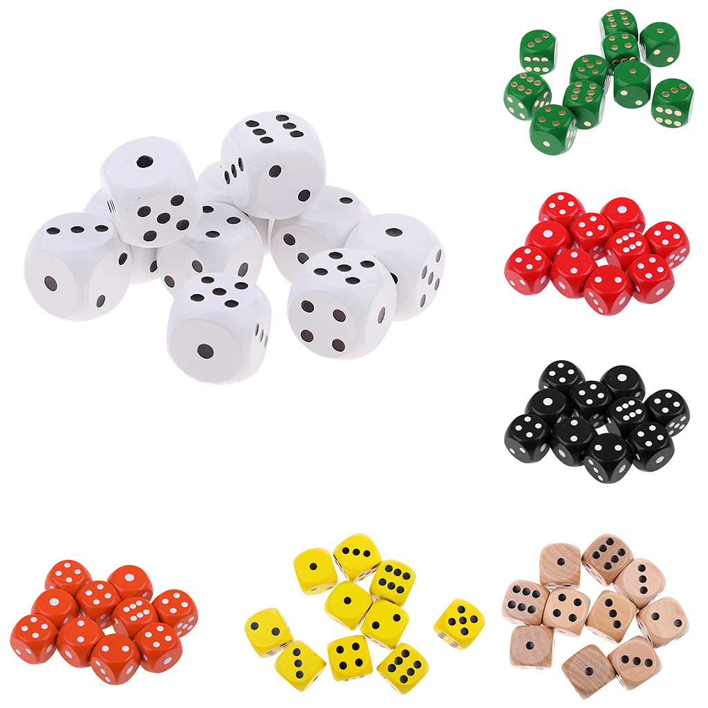 10Pieces Wooden Dice D6 Six Sided Dotted Dice For Dungeons And Dragons DND MTG DIY Outdoor Caping Hiking Gaming Gift Supplies