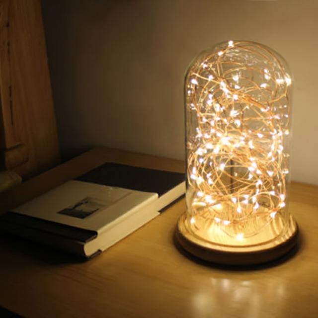Hot Linha luz USB Lâmpada de Mesa Luz CONDUZIDA Da Noite Com Tampa de vidro base De Madeira Contratada Mesa de Luz Luz da Mesa Para quarto