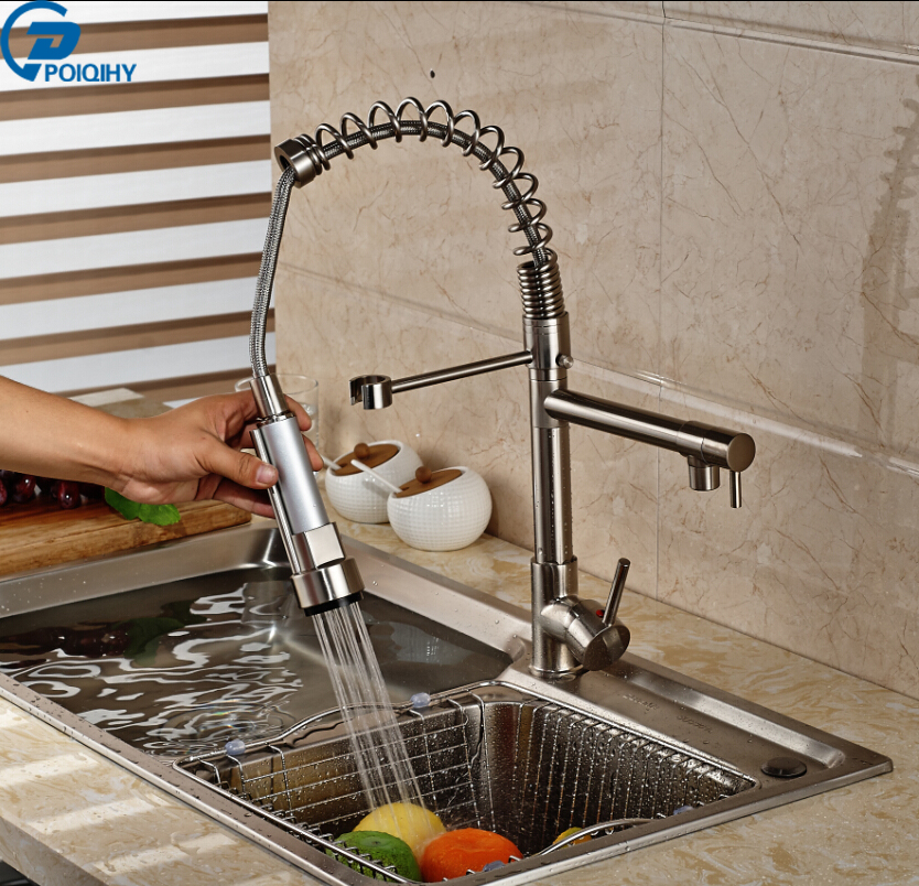 POIQIHY New Arrival Deck Mount Brushed Nickle Finish Kichen Mixer Faucet Spring Dual Swivel Spout Faucet
