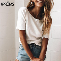 Aproms Women Sweet Knitted Short Sleeve T Shirt 2017 Basic Knit Tee Casual White Stretch T