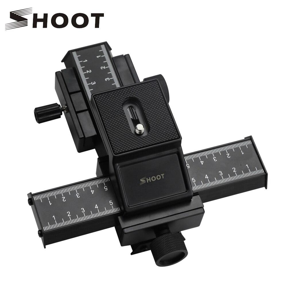 4 Way Macro Focusing Focus Rail Slider Close-up Shooting Gimbal for Nikon Canon Sony DSLR SLR Camera with Standard 1/4