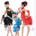 Nuevo 2015 Niños de Los Niños de Lentejuelas Franja de la Pluma de puesta en Escena en el Concurso de Baile Vestido de Traje de la Danza de Baile Latino Para Las Niñas