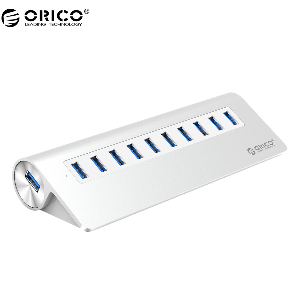 ORICO VL812 Chip 10 Ports USB 3.0 Hub USB Port USB HUB Portable Alumunium USB Splitter for Apple Mac Laptop PC Tablet M3H10 orico usb hub 7 ports 5 gbps usb3 0 hub splitter support bc1 2 charging with 12v dc charging port