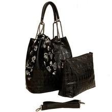 Vintage Skull Shoulder Bags Women Bucket Pu Leather With Silk Female Black Handbags Ladies Casual Chain Tote Bag