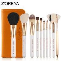 ZOREYA 10pcs Set Makeup Brushes Cosmetic Brush Rose Gold With Leather Bag Foundation Eyeshadow Eyeliner Lip