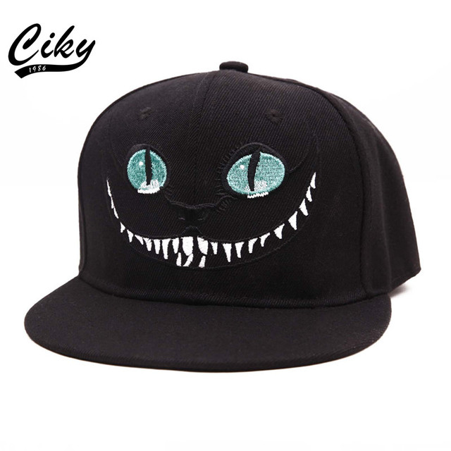 New Fashion Adult Novelty Baseball Cap Boy Girl Flat-brimmed Gorras Snapback Outdoor 3D Cat Printed Black Hip Hop Hat B-186