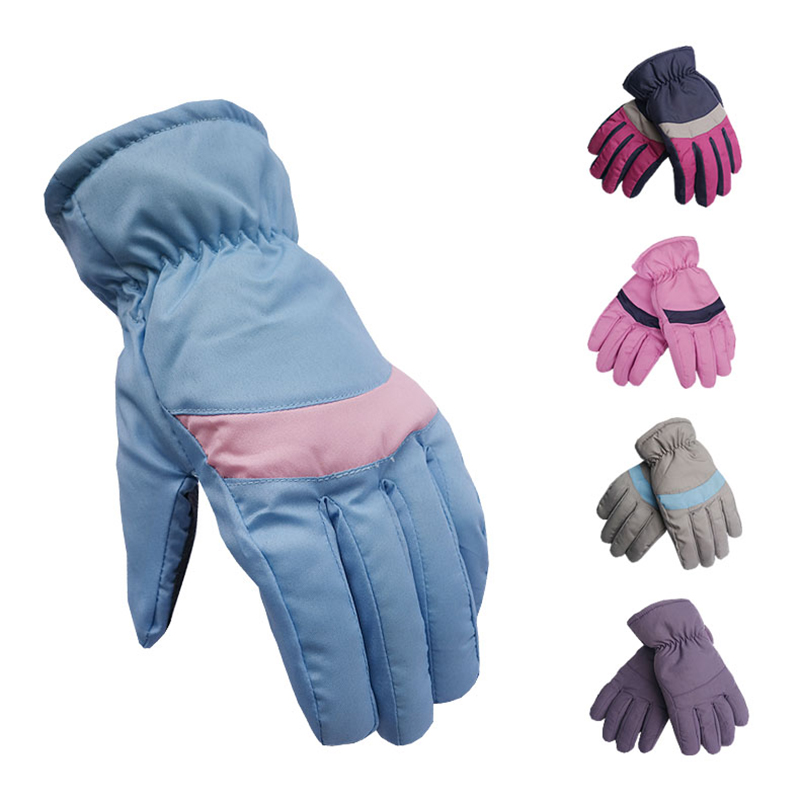 Fashion Blue Patchwork Winter Gloves Women Warm Polyester